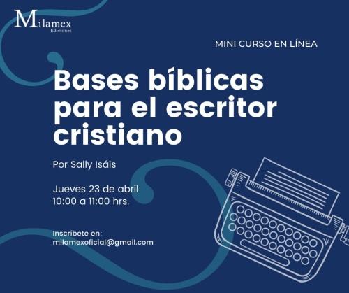 Afiche de curso sobre bases bíblicas para el escritor cristiano